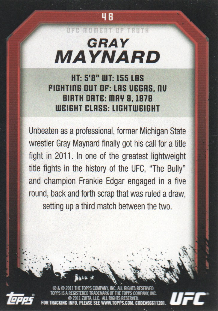 2011 Topps UFC Moment of Truth #46 Gray Maynard back image