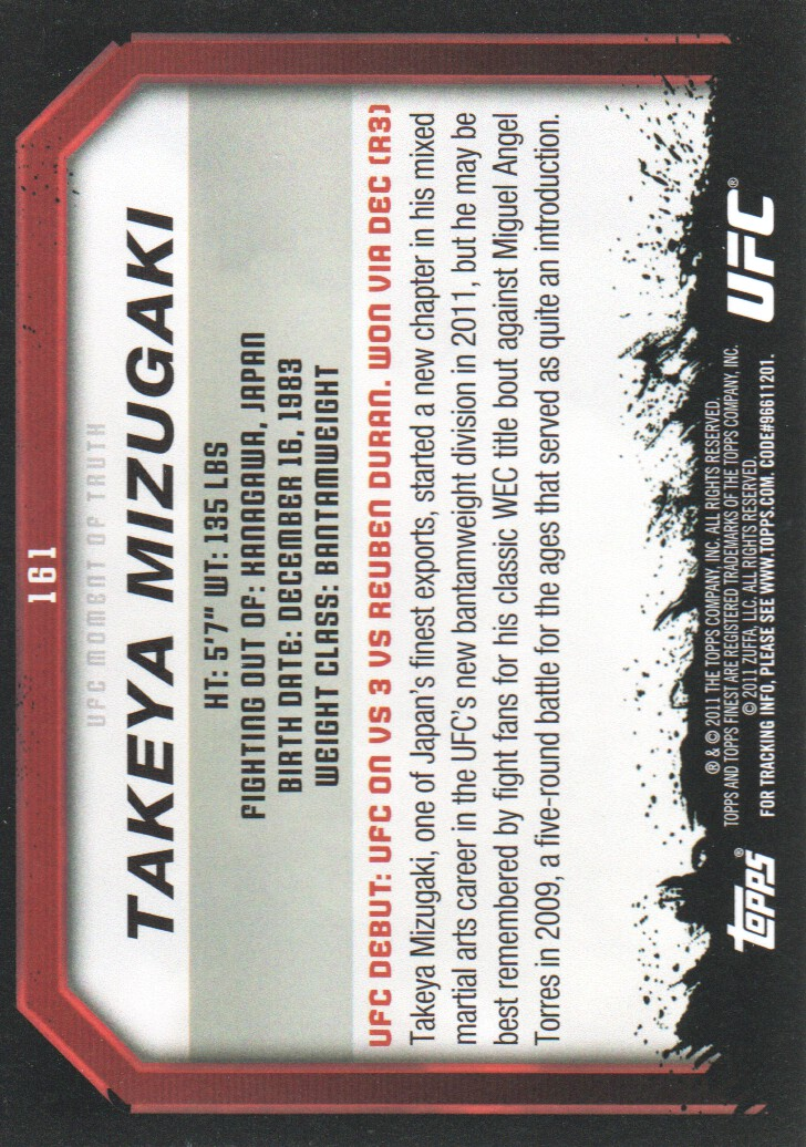 2011 Topps UFC Moment of Truth #161 Takeya Mizugaki back image