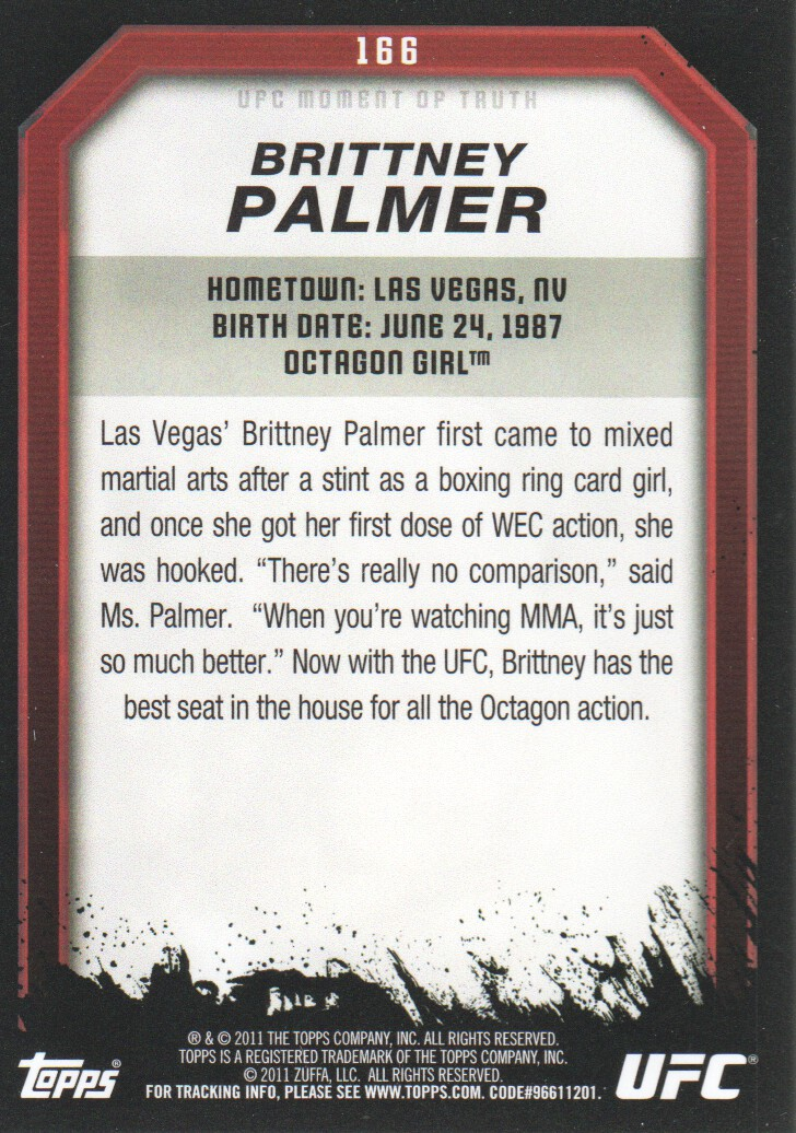 2011 Topps UFC Moment of Truth #166 Brittney Palmer back image