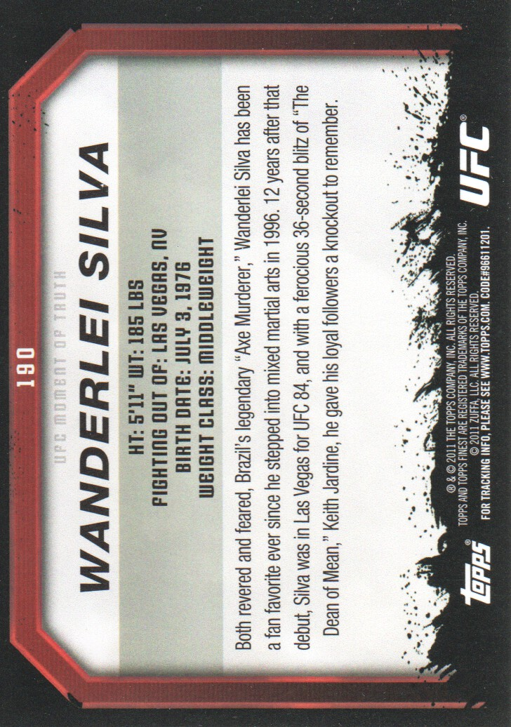 2011 Topps UFC Moment of Truth #190 Wanderlei Silva