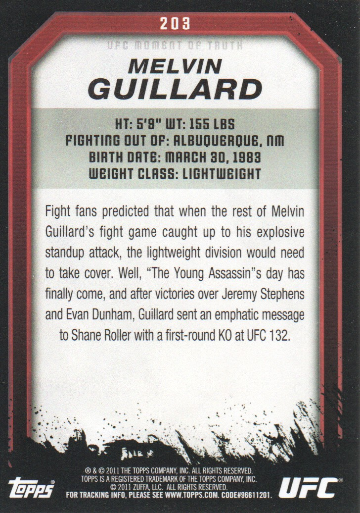 2011 Topps UFC Moment of Truth #203 Melvin Guillard back image
