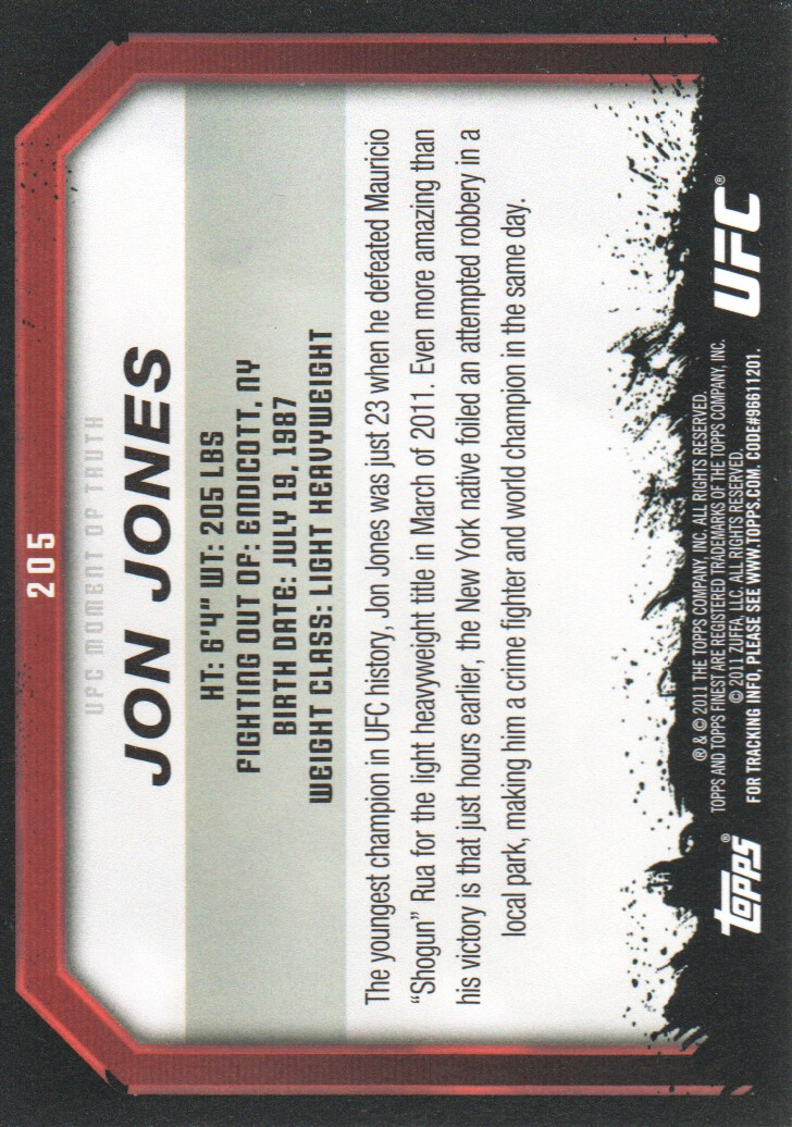 2011 Topps UFC Moment of Truth #205 Jon Jones back image