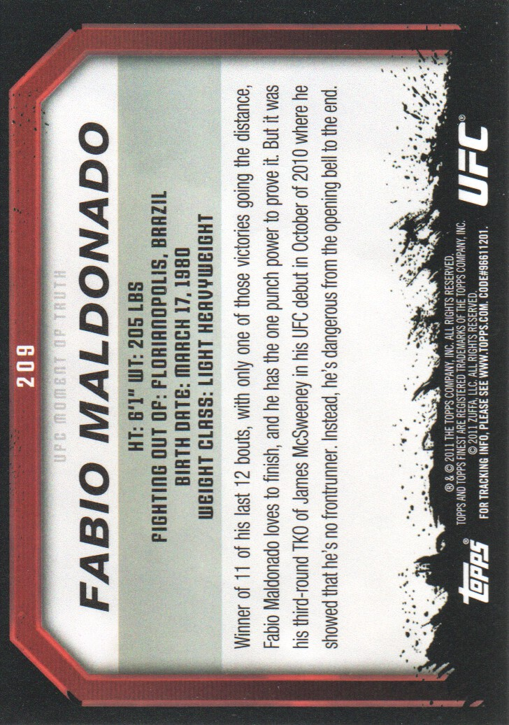 2011 Topps UFC Moment of Truth #209 Fabio Maldonado