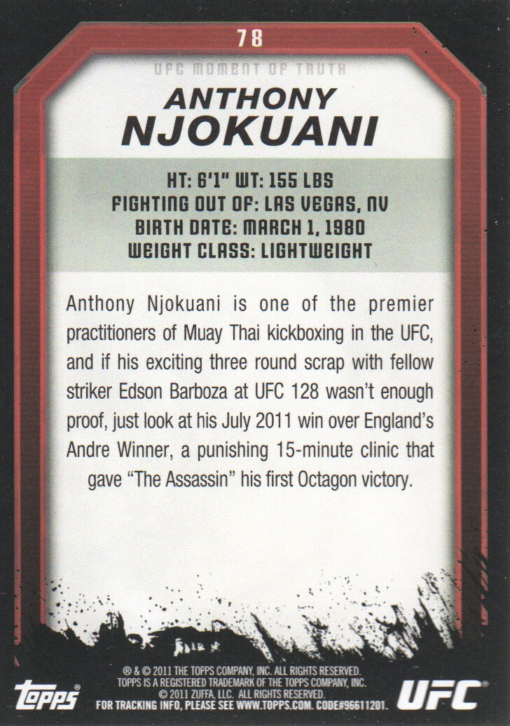 2011 Topps UFC Moment of Truth Gold #78 Anthony Njokuani back image