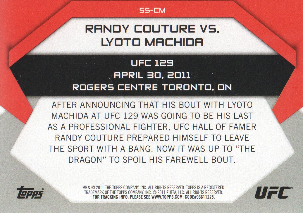 2011 Topps UFC Moment of Truth Showdown Shots #SSCM Randy Couture/Lyoto Machida UFC 129 back image