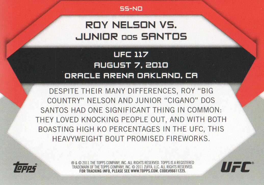 2011 Topps UFC Moment of Truth Showdown Shots #SSND Roy Nelson/Junior dos Santos UFC 117 back image