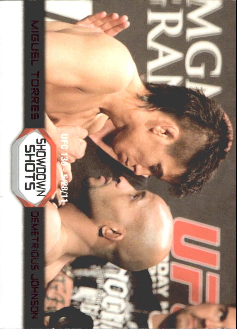2011 Topps UFC Moment of Truth Showdown Shots Black #SSTJ Miguel Torres/Demetrious Johnson UFC 130