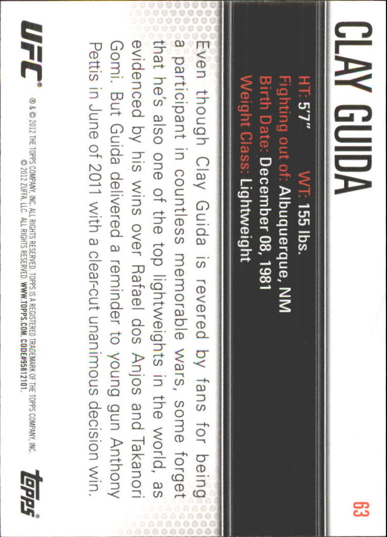 2012 Topps UFC Knockout #63 Clay Guida back image