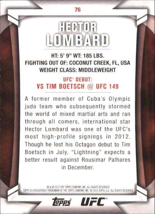 2013 Topps UFC Knockout #76 Hector Lombard back image