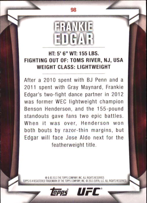 2013 Topps UFC Knockout #98 Frankie Edgar