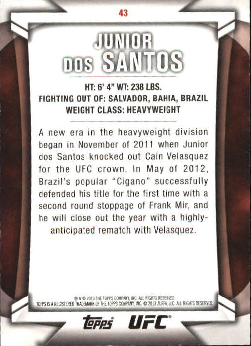 2013 Topps UFC Knockout Gold #43 Junior dos Santos