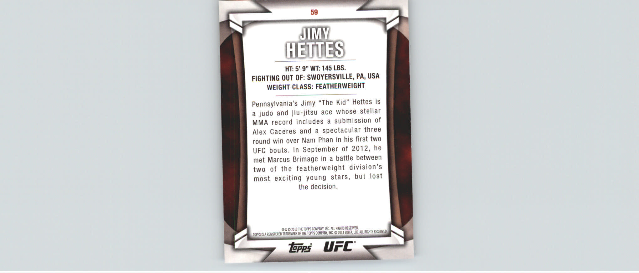 2013 Topps UFC Knockout Gold #59 Jimy Hettes