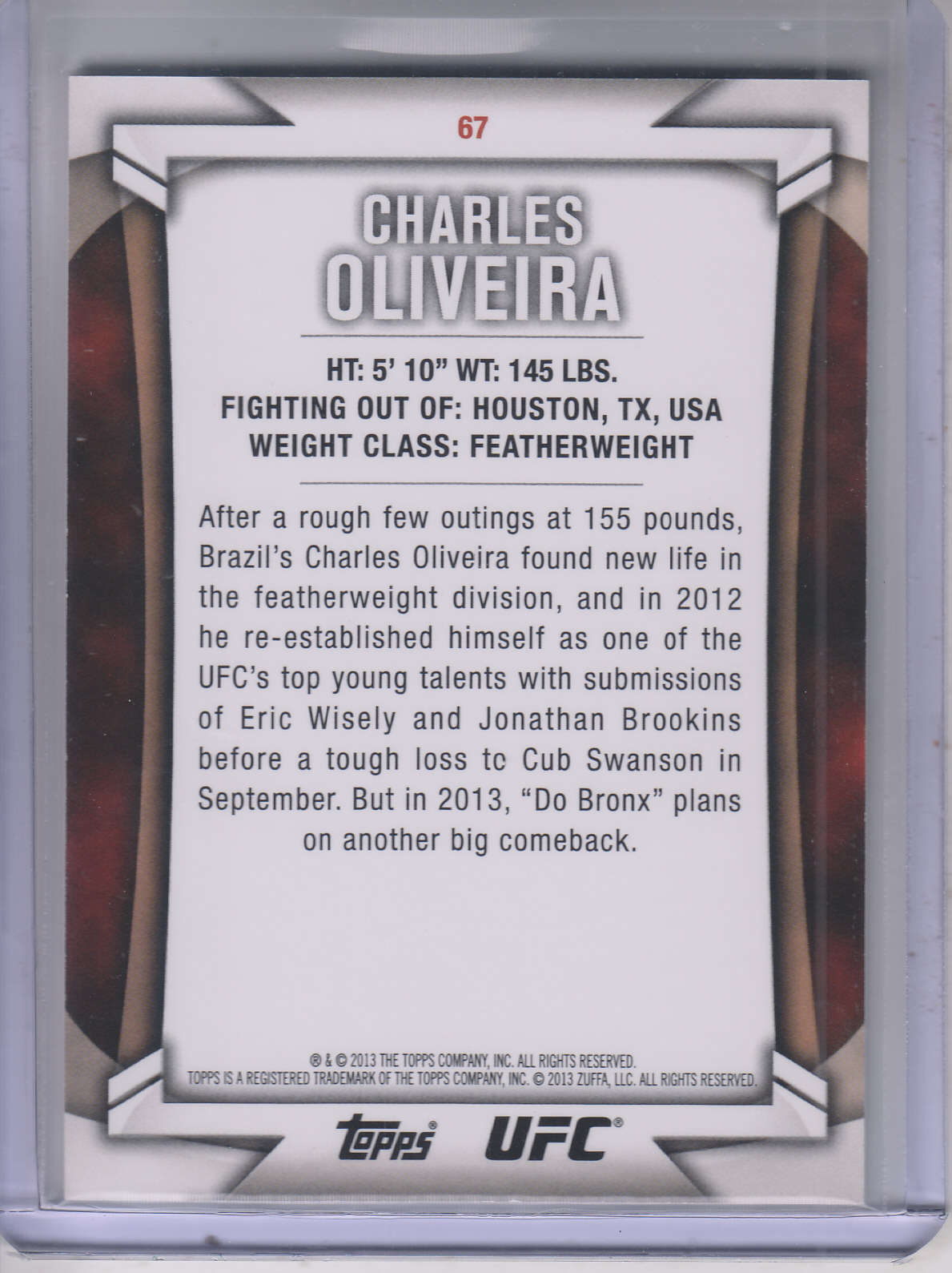2013 Topps UFC Knockout Gold #67 Charles Oliveira