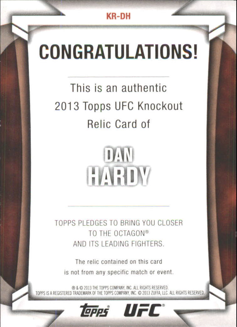 2013 Topps UFC Knockout Fighter Relics #KRDH Dan Hardy
