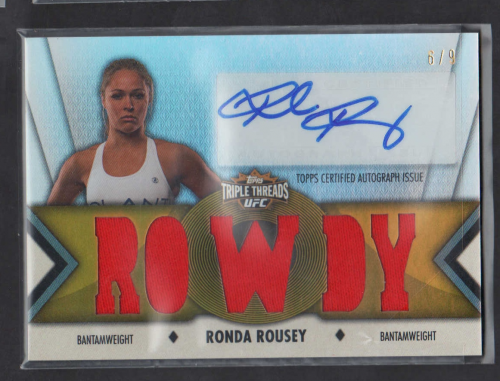 2013 Topps UFC Knockout Triple Threads Relics Autographs Gold #TTARRR Ronda Rousey
