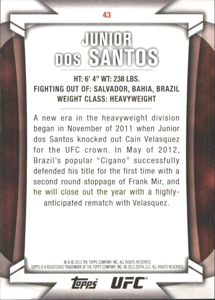 2013 Topps UFC Knockout Blue #43 Junior dos Santos