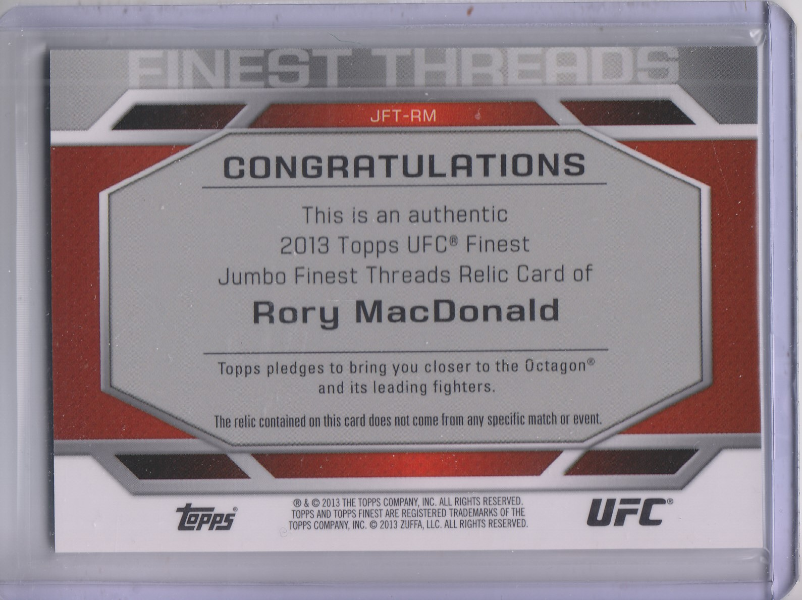 2013 Finest UFC Finest Threads Jumbo Fighter Relics #JFTRM Rory MacDonald