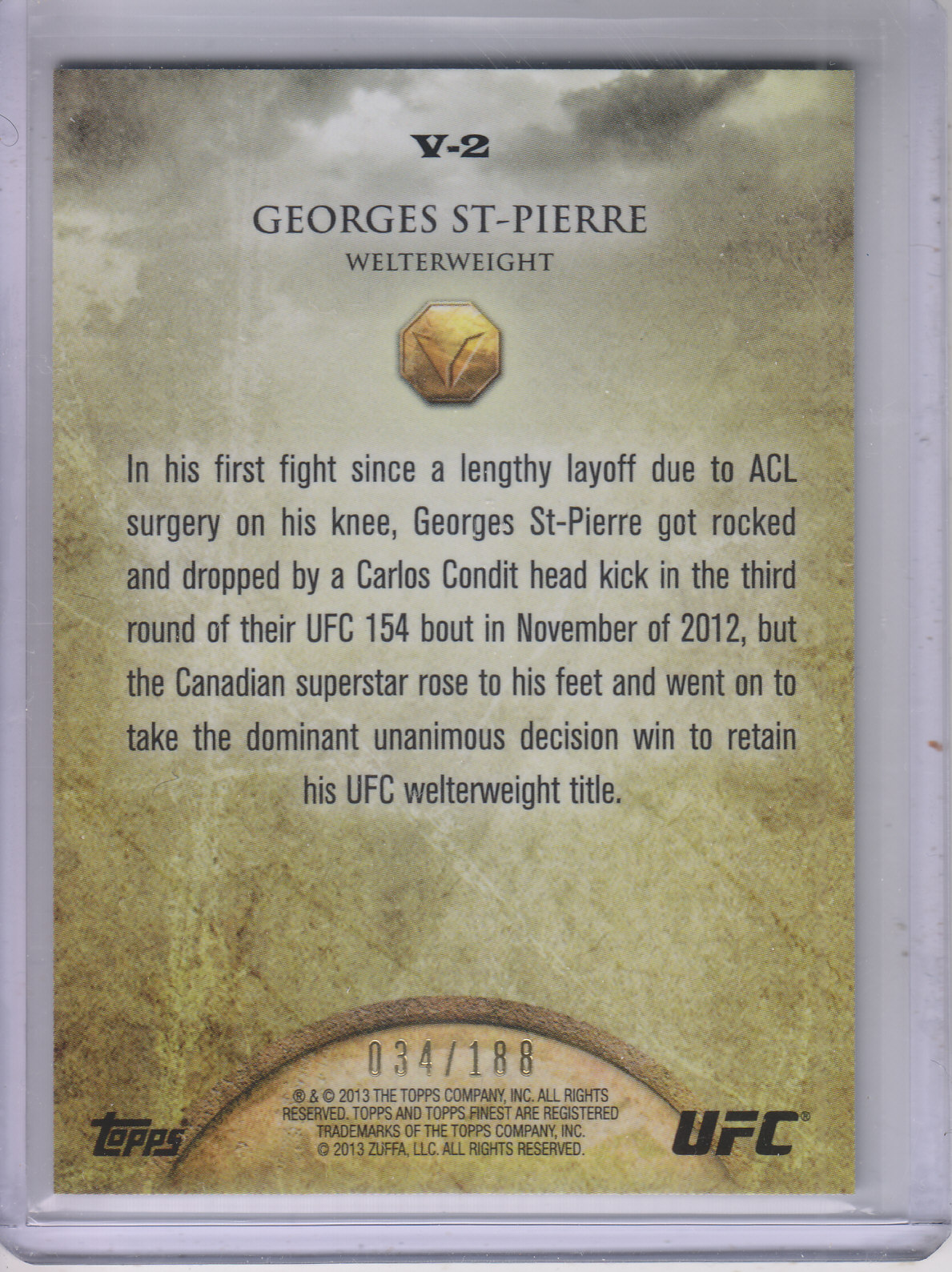 2013 Finest UFC Valor Strength #V2 Georges St-Pierre