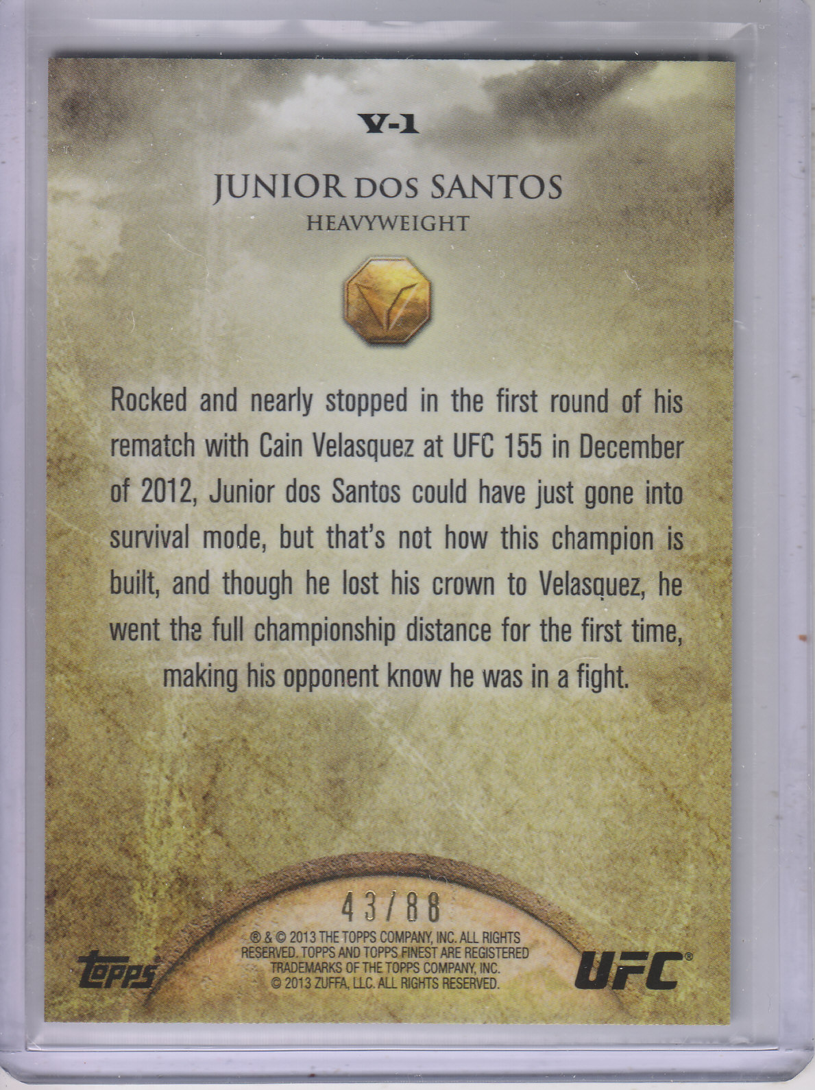 2013 Finest UFC Valor Heart #V1 Junior dos Santos