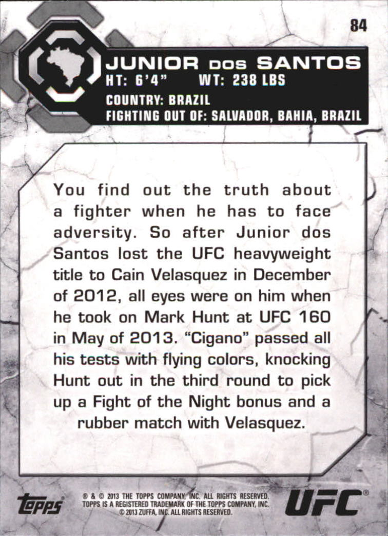 2013 Topps UFC Bloodlines #84 Junior dos Santos