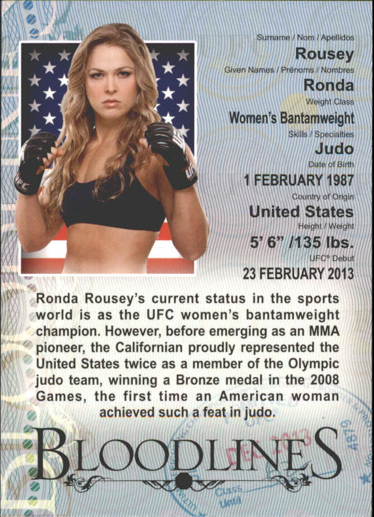 2013 Topps UFC Bloodlines Bloodlines #BLRR Ronda Rousey