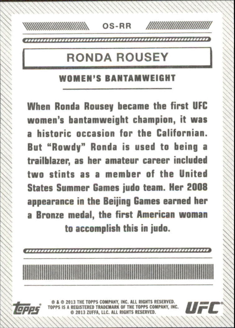 2013 Topps UFC Bloodlines Octagon-Side #OSRR Ronda Rousey