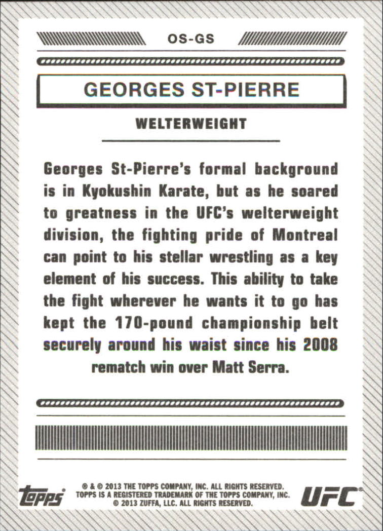 2013 Topps UFC Bloodlines Octagon-Side #OSGS Georges St-Pierre