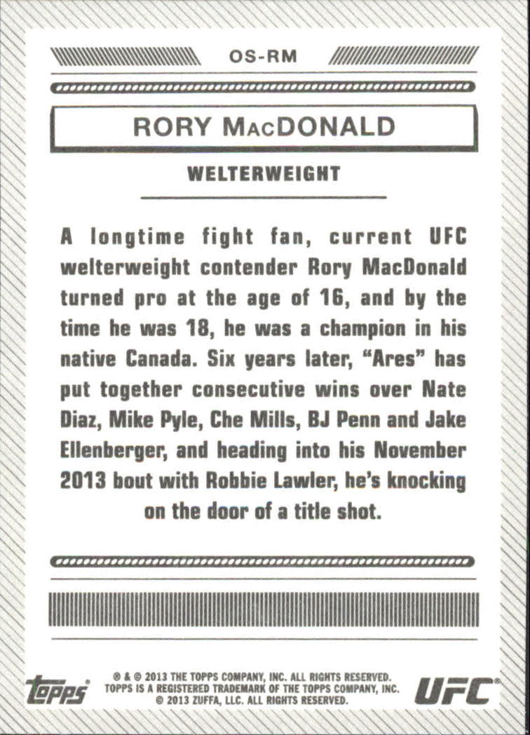 2013 Topps UFC Bloodlines Octagon-Side #OSRM Rory MacDonald