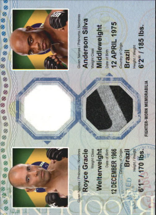 2013 Topps UFC Bloodlines Dual Fighter Relics #DRGS Royce Gracie/ Anderson Silva