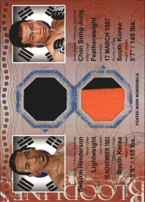2013 Topps UFC Bloodlines Dual Fighter Relics Red #DRHJ Chan Sung Jung/ Benson Henderson