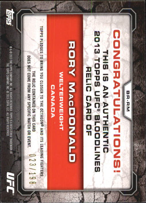 2013 Topps UFC Bloodlines Fighter Relics #BRRM Rory MacDonald