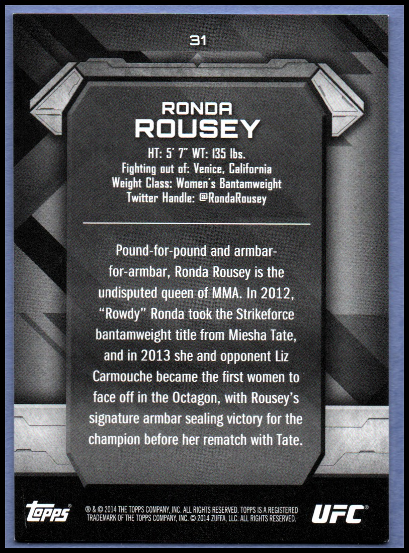 2014 Topps UFC Knockout #31 Ronda Rousey