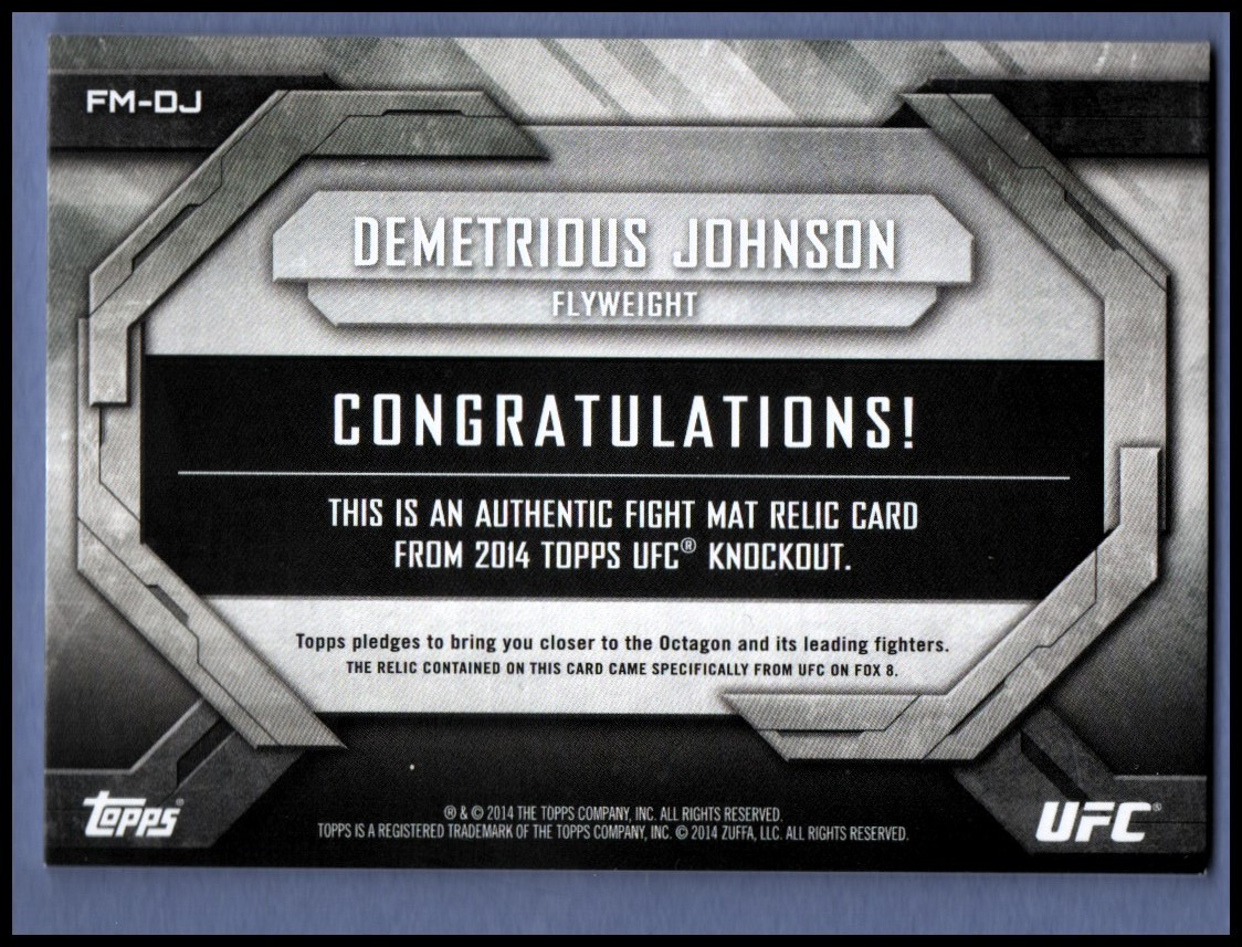 2014 Topps UFC Knockout Fight Mat Relics Green #FMDJ Demetrious Johnson