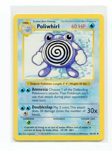 1999 Pokemon Base Unlimited #38  Poliwhirl (U)