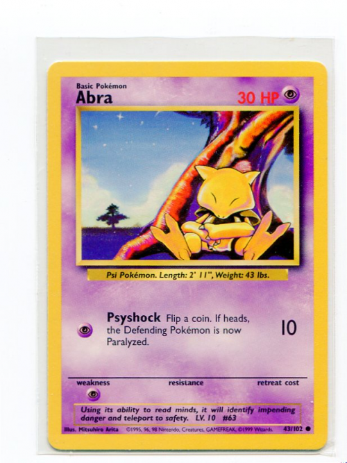1999 Pokemon Base Unlimited #43  Abra (C)