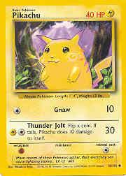 1999 Pokemon Base Unlimited #58  Pikachu (Yellow cheeks Corr.)(C)