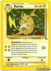 1999 Pokemon Fossil Unlimited #14 Raichu (holo) (R)