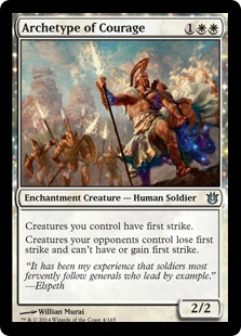 2014 Magic The Gathering Born of the Gods #4 Archetype of Courage U :W: