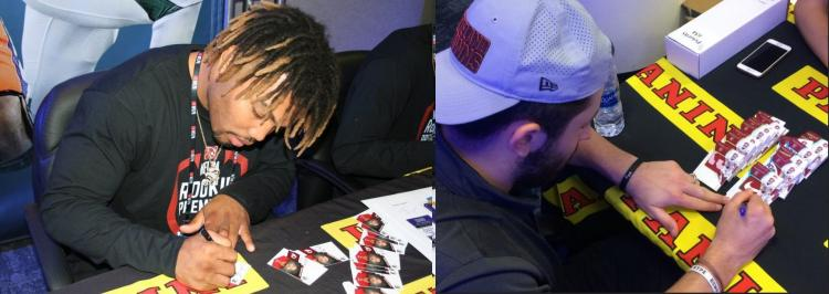 NFL Rookie Class Sign Cards at Photo Shoot ;?>