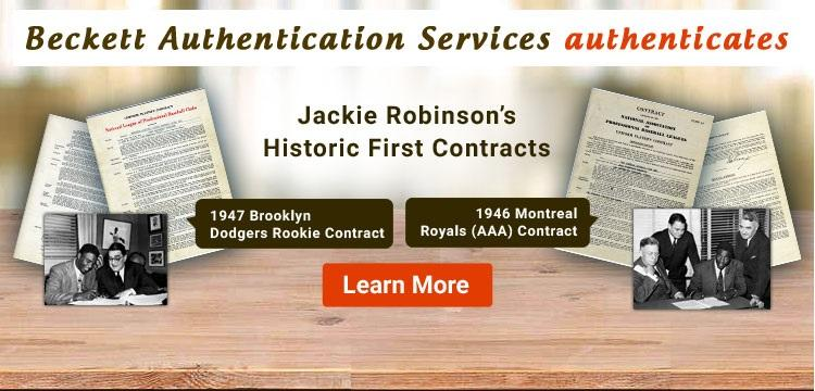 Jackie Robinson Baseball Contract Sale | Beckett Authentication Services ;?>