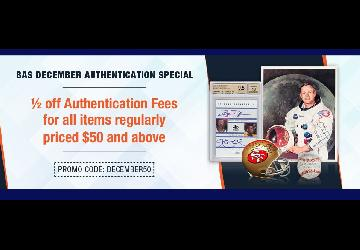 December Special - 1/2 off Authentication Fees for items $50 and above