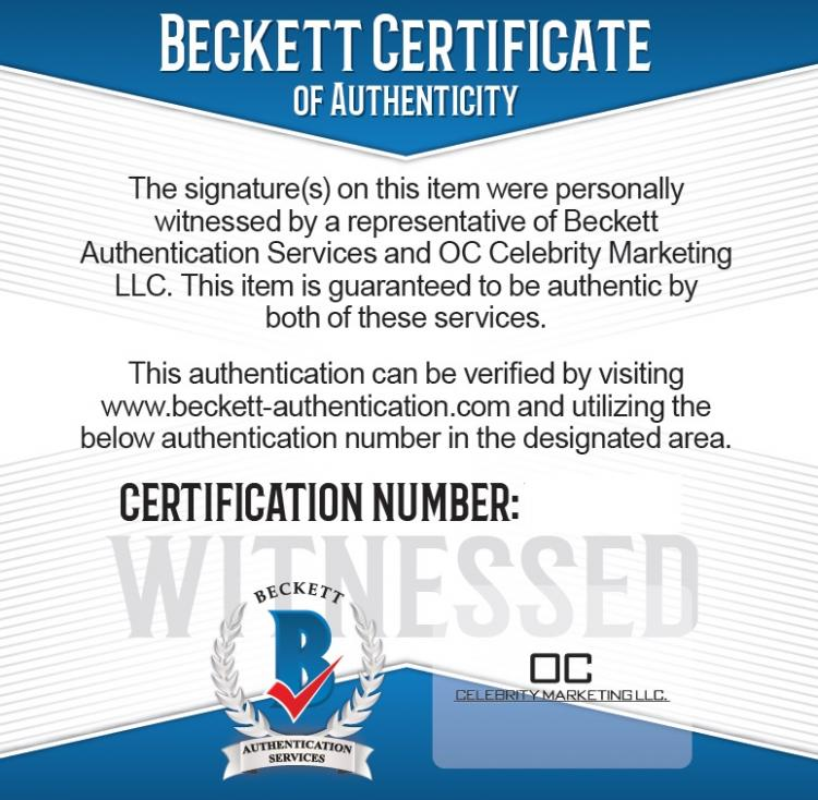 Beckett Authentication Services and OC Celebrity Marketing Witness Certificates ;?>