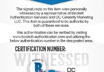 Beckett Authentication Services and OC Celebrity Marketing Witness Certificates