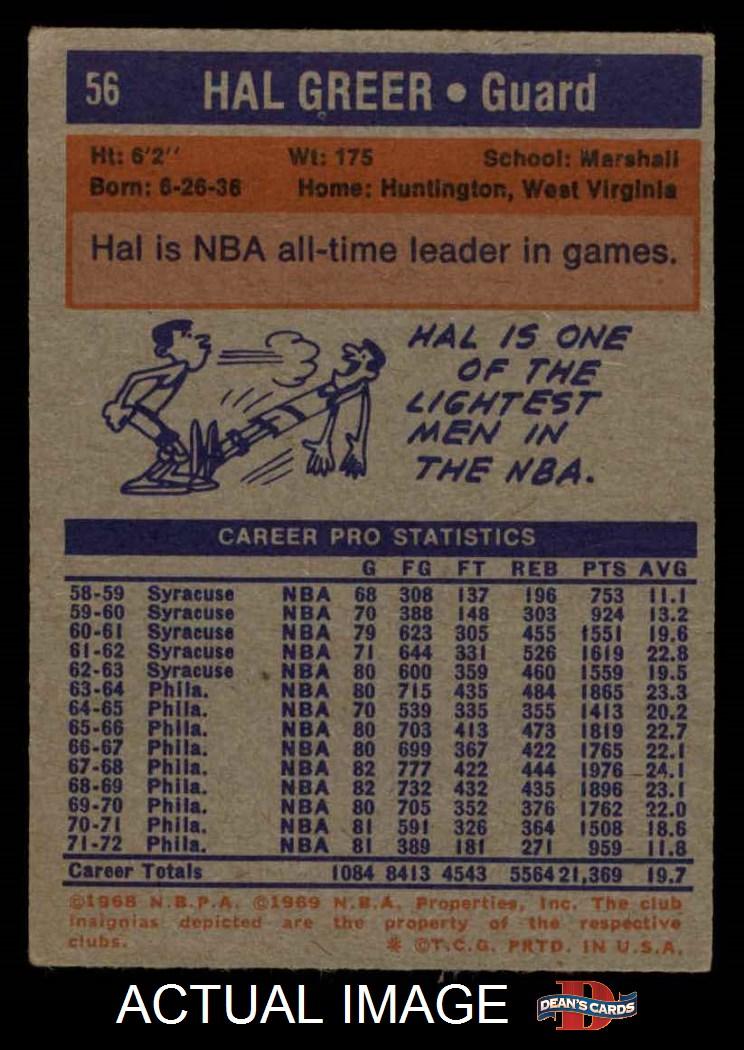 1972 Topps #56  Hal Greer  VG M731 back image