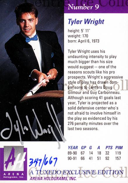 1991 Arena Draft Picks Autographs #9 Tyler Wright