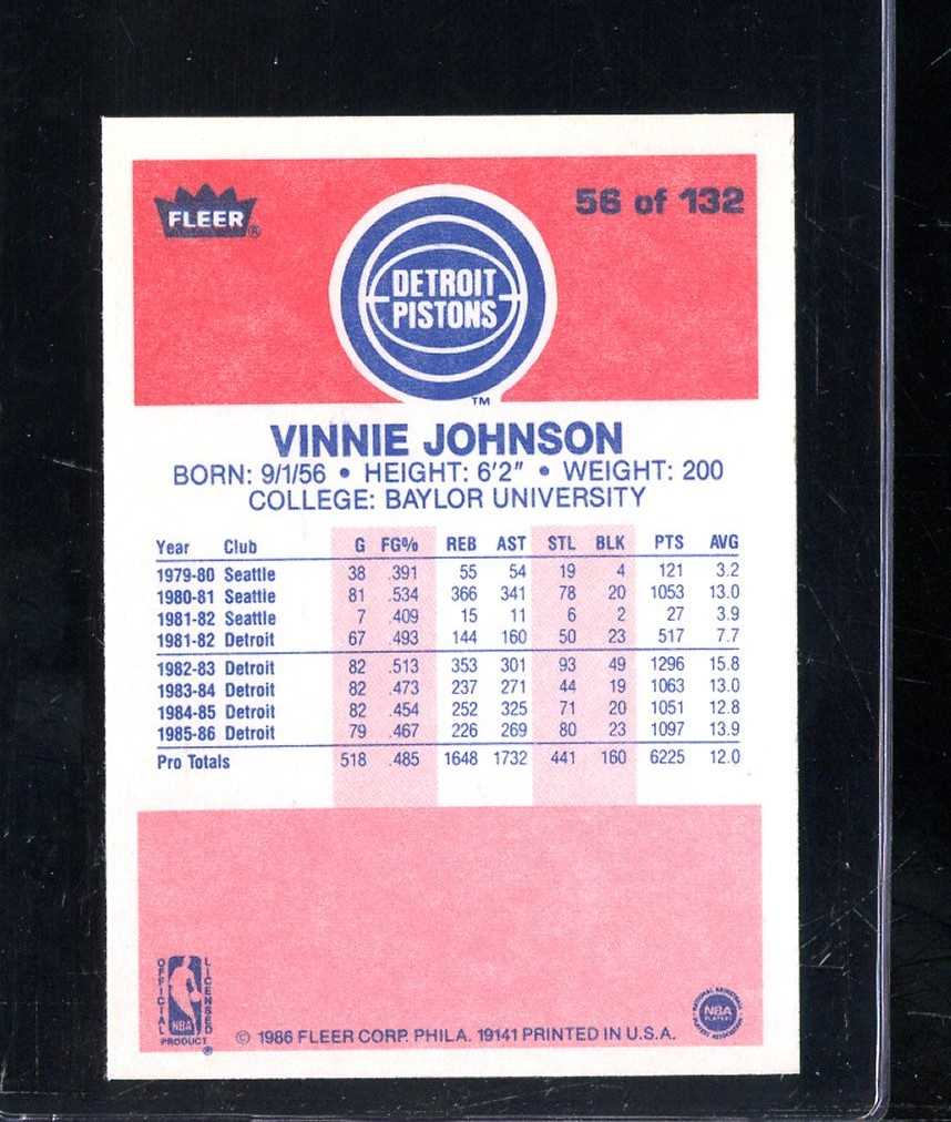 1986 FLEER 56 VINNIE JOHNSON NMMT A4067