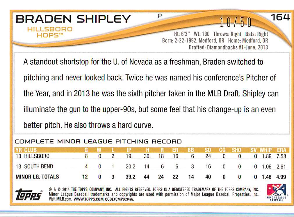 2014 Topps Pro Debut Gold #164 Braden Shipley back image