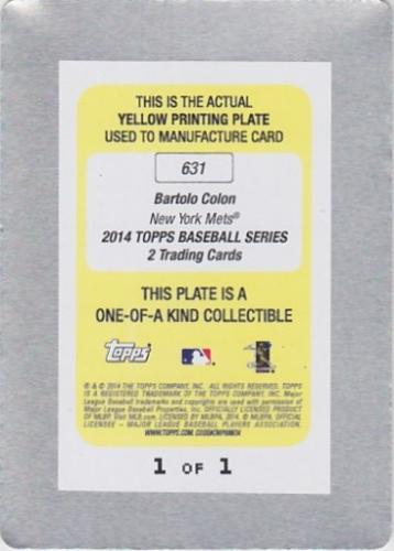 2014 Topps Printing Plates Yellow #631 Bartolo Colon back image
