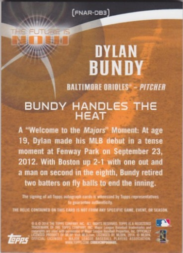 2014 Topps The Future is Now Autograph Relics #FNARDB3 Dylan Bundy S2 back image