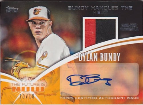 2014 Topps The Future is Now Autograph Relics #FNARDB3 Dylan Bundy S2